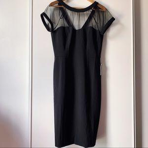 Maggy London black illusion yoke sheath dress 12P